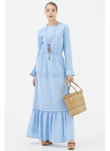 Sementa Kolye Detaylı Uzun Jean Elbise  Buz  Mavi